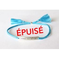 Bracelet bleu LAISSE-TOI RÊVER plaque argent gravée et poinçonnée