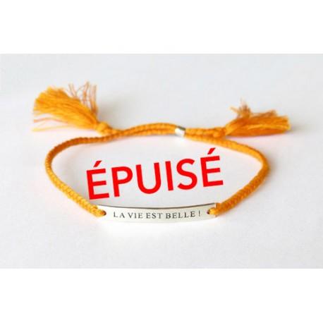 Bracelet orange LA VIE EST BELLE ! plaque argent gravée et poinçonnée