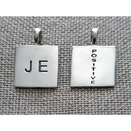 """Médaille argent gravée et poinçonnée """"JE positive"""""""