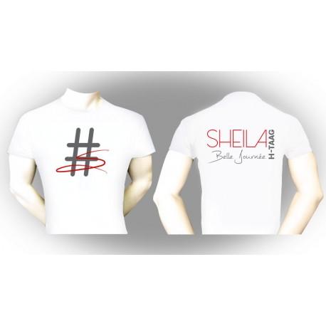 """T-Shirt """"Belle Journée"""" blanc - écritures grises et rouges"""