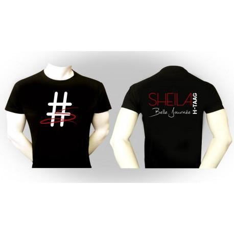 """T-Shirt """"Belle Journée"""" noir - écritures blanches et rouges"""